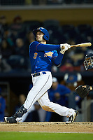 Nick Solak (3) of the Durham Bulls follows through on his swing against the Gwinnett Braves at Durham Bulls Athletic Park on April 20, 2019 in Durham, North Carolina. The Bulls defeated the Braves 3-2 in game two of a double-header. (Brian Westerholt/Four Seam Images)
