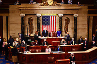 Speaker of the House Nancy Pelosi, D-Calif., and Vice President Mike Pence officiate as a joint session of the House and Senate convenes to confirm the Electoral College votes cast in November's election, at the Capitol in Washington, Wednesday, Jan. 6, 2021. (Jim Lo Scalzo/Pool via AP)