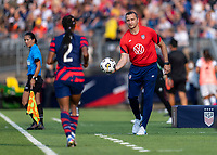 EAST HARTFORD, CT - JULY 5: Vlatko Andonovski of the USWNT tosses the ball to Crystal Dunn during a game between Mexico and USWNT at Rentschler Field on July 5, 2021 in East Hartford, Connecticut.