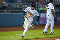 Luis Santos (13) of the Pulaski Yankees hustles around third base during the game against the Burlington Royals at Calfee Park on August 31, 2019 in Pulaski, Virginia. The Yankees defeated the Royals 6-0. (Brian Westerholt/Four Seam Images)