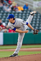 Rob Scahill (34) of the Tulsa Drillers follows through on a pitch during a game against the Springfield Cardinals on April 29, 2011 at Hammons Field in Springfield, Missouri.  Photo By David Welker/Four Seam Images.