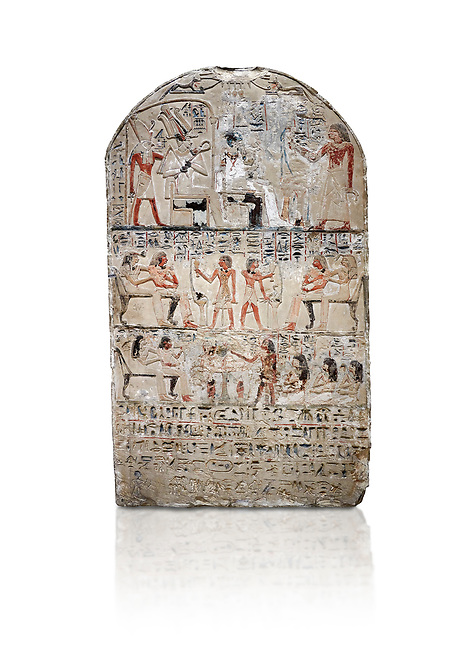 """Ancient Egyptian stele of s standard bearer Maienhekau, limestone, New Kingdom, 18th Dynasty, (1458-1425 BC), DAbydos,  Egyptian Museum, Turin. white background,<br /> <br /> In the top registerMaienhekau makes offerings to Ptah, Osiris and Horus. In the middle he is shown with his wife reveiving offerings from his 2 sons. In the lower register another son with 3 gaughters is offering a formula to Maienhekau, also listing his titles. He was standard bearer (captain) on several warships and the """"bearer of arms """" of Thutmosis II. The current depictions are over an earlier relief which can be seen in places where the later stucco has come away."""