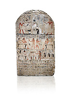 "Ancient Egyptian stele of s standard bearer Maienhekau, limestone, New Kingdom, 18th Dynasty, (1458-1425 BC), DAbydos,  Egyptian Museum, Turin. white background,<br /> <br /> In the top registerMaienhekau makes offerings to Ptah, Osiris and Horus. In the middle he is shown with his wife reveiving offerings from his 2 sons. In the lower register another son with 3 gaughters is offering a formula to Maienhekau, also listing his titles. He was standard bearer (captain) on several warships and the ""bearer of arms "" of Thutmosis II. The current depictions are over an earlier relief which can be seen in places where the later stucco has come away."