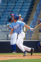 Tor Sehnert (9) of Peters Township High School in McMurray, Pennsylvania of Peters Township High School in McMurray, Pennsylvania hits a home run playing for the Kansas City Royals scout team during the East Coast Pro Showcase on August 3, 2016 at George M. Steinbrenner Field in Tampa, Florida.  (Mike Janes/Four Seam Images)