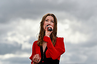 10th November 2020; Christchurch, New Zealand;  Hayley Westenra sings the national anthem before the NZ Trotting Cup at Addington Raceway, Christchurch, New Zealand