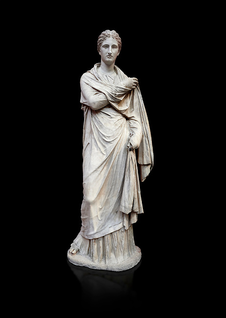 Ancient Greek funerary statue of a women, type Small Herculaneum Woman style. From Delos circa 2nd Cent BC. Athens National Archaeological Museum. Cat No 1827. against black<br /> <br /> This marble statue from Delos shopws a women wearing a full length chiton and a himation that covers her entire body and arms. This style of statue is known os 'Small Herculaneum Woman' and is a copy of a famous original dating from 300 BC.