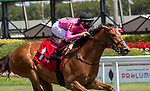 February 27, 2021: Con Lima #3, ridden by Irad Ortiz Jr, is elevated to first place after #1 Spanish Loveaffair, the winner ridden by Tyler Gafflione, is taken down for interference during the running of the Herecomesthebride Stakes (Grade 3) on the turf on Fountain of Youth Day at Gulfstream Park in Hallandale Beach, Florida. Liz Lamont/Eclipse Sportswire/CSM