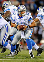 28 August 2008:  Detroit Lions' quarterback Drew Henson in action against the Buffalo Bills at Ralph Wilson Stadium in Orchard Park, NY. The Lions defeated the Bills 14-6 in their fourth and final pre-season game...Mandatory Photo Credit: Ed Wolfstein Photo