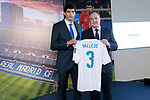 Real Madrid's new player Jesus Vallejo (l) with the President Florentino Perez during his official presentation. July 7, 2017. (ALTERPHOTOS/Acero)