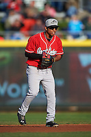Great Lakes Loons second baseman Kelvin Ramos (12) during a game against the Dayton Dragons on May 21, 2015 at Fifth Third Field in Dayton, Ohio.  Great Lakes defeated Dayton 4-3.  (Mike Janes/Four Seam Images)