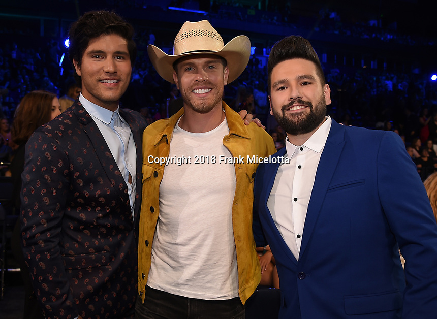 NASHVILLE, TN - JUNE 6: (L-R) Dan Smyers, Dustin Lynch and Shay Mooney attend the 2018 CMT Music Awards at the Bridgestone Arena on June 6, 2018 in Nashville, Tennessee. (Photo by Frank Micelotta/PictureGroup)