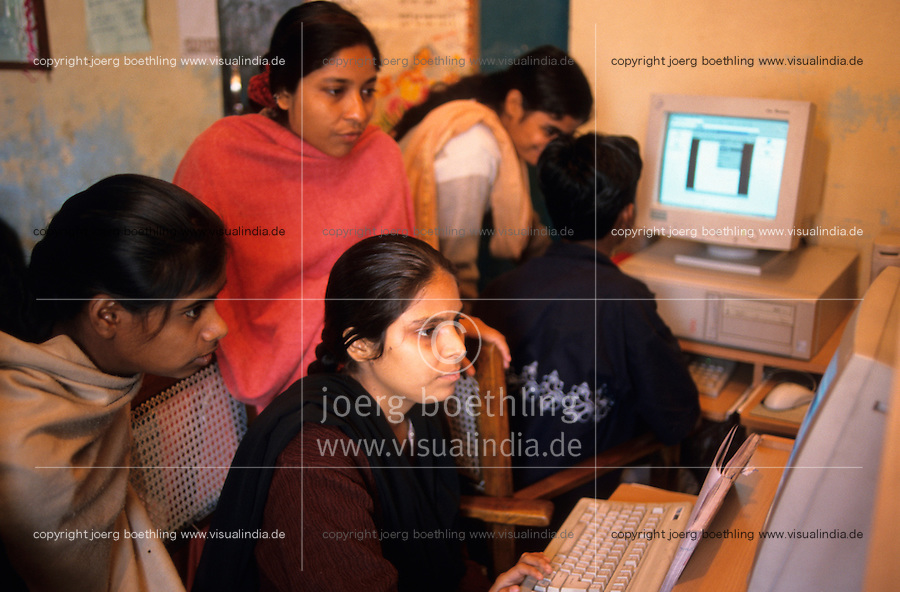 "S?dasien Asien Indien IND Neu Delhi .Computer Ausbildung f?r Dalit Kinder und Jugendlichen aus Slums -  Kasten Kaste Kastensystem Dalit Bildung Chancengleichheit Entwicklung Armutsbekaempfung Milleniumsziele  Inder indisch xagndaz | .South Asia India New Delhi .centre for dalit children from Slums for education and training of NGO Ankur  -  PC communication learn aid gender .| [ copyright (c) Joerg Boethling / agenda , Veroeffentlichung nur gegen Honorar und Belegexemplar an / publication only with royalties and copy to:  agenda PG   Rothestr. 66   Germany D-22765 Hamburg   ph. ++49 40 391 907 14   e-mail: boethling@agenda-fototext.de   www.agenda-fototext.de   Bank: Hamburger Sparkasse  BLZ 200 505 50  Kto. 1281 120 178   IBAN: DE96 2005 0550 1281 1201 78   BIC: ""HASPDEHH"" ,  WEITERE MOTIVE ZU DIESEM THEMA SIND VORHANDEN!! MORE PICTURES ON THIS SUBJECT AVAILABLE!! INDIA PHOTO ARCHIVE: http://www.visualindia.net ] [#0,26,121#]"