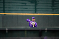 LSU Tigers starting pitcher Jaden Hill (0) warms up in the outfield prior to the game against the Tennessee Volunteers on Robert M. Lindsay Field at Lindsey Nelson Stadium on March 27, 2021, in Knoxville, Tennessee. (Danny Parker/Four Seam Images)