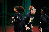 TACOMA, WA - OCTOBER 17: Morgan Andrews #12 of the OL Reign before a game between Utah Royals FC and OL Reign at Cheney Stadium on October 17, 2020 in Tacoma, Washington.