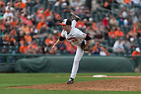 Oregon State Beavers relief pitcher Mitchell Verburg (32) pitches during a game against the New Mexico Lobos on February 15, 2019 at Surprise Stadium in Surprise, Arizona. Oregon State defeated New Mexico 6-5. (Zachary Lucy/Four Seam Images)