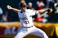 Cody Schumacher (21) of the Missouri State Bears delivers a pitch during a game against the Southern Illinois University- Edwardsville Cougars at Hammons Field on March 10, 2012 in Springfield, Missouri. (David Welker / Four Seam Images)