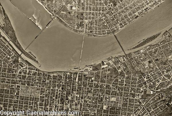 historical aerial photograph Louisville, Kentucky, 1949