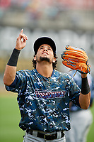 Jacksonville Jumbo Shrimp center fielder Yefri Perez (12) before a game against the Birmingham Barons on April 24, 2017 at Regions Field in Birmingham, Alabama.  Jacksonville defeated Birmingham 4-1.  (Mike Janes/Four Seam Images)