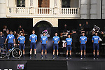 Movistar Team on stage at team presentation of the 2021 Giro d'Italia inside the Cortile d'Onore of the Castello del Valentino, on the occasion of the 160th anniversary of the Unification of Italy, Turin, Italy. 6th May 2021.  <br /> Picture: LaPresse/Fabio Ferrari | Cyclefile<br /> <br /> All photos usage must carry mandatory copyright credit (© Cyclefile | LaPresse/Fabio Ferrari)