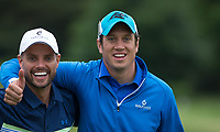 Keith Duffy (Singer / Actor) & Vernon Kay (TV Presenter) during the BMW PGA PRO-AM GOLF at Wentworth Drive, Virginia Water, England on 23 May 2018. Photo by Andy Rowland.