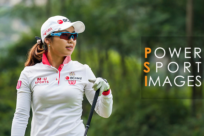 Hye-Youn Kim of Korea looks on during the Hyundai China Ladies Open 2014 on December 10 2014 at Mission Hills Shenzhen, in Shenzhen, China. Photo by Xaume Olleros / Power Sport Images