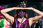 November 7, 2020 : An attendee wears a race day hat on Breeders' Cup Championship Saturday at Keeneland Race Course in Lexington, Kentucky on November 7, 2020. Scott Serio/Eclipse Sportswire/Breeders' Cup/CSM