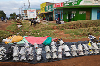 Second hand sneakers for sale on the streets of Iten, Kenya.