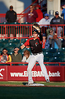 Erie SeaWolves first baseman Josh Lester (17) stretches for a throw during an Eastern League game against the Altoona Curve on June 3, 2019 at UPMC Park in Erie, Pennsylvania.  Altoona defeated Erie 9-8.  (Mike Janes/Four Seam Images)