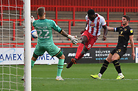 Inih Effiong of Stevenage F.C. goes close during Stevenage vs MK Dons, EFL Trophy Football at the Lamex Stadium on 6th October 2020