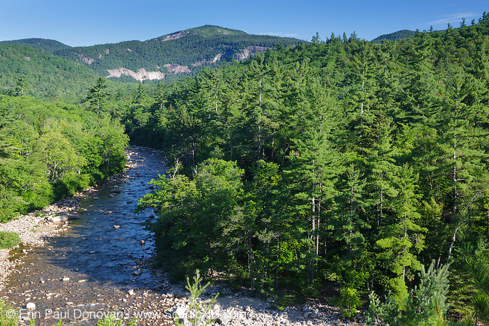 Swift River in Albany, New Hampshire during the summer months. Table Mountain is off in the distance. Located in the White Mountains region of New Hampshire, the Swift River originates in Livermore, and flows east for roughly 26 miles before joining the Saco River in Conway.