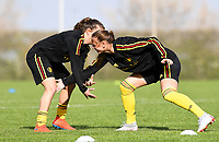 20190226 - LARNACA , CYPRUS : Belgian midfielder Zandy Soree<br />  pictured  in a duel with Belgian defender Davina Philtjens (left) during a Matchday -1 training from The Belgian Red Flames prior to their game against the women team of Slovakia , on Tuesday 26 February 2019 at the Alpha Sports Grounds in Larnaca , Cyprus . This will be the first game in group C for Belgium during the Cyprus Womens Cup 2019 , a prestigious women soccer tournament as a preparation on the European Championship 2021 qualification duels. PHOTO SPORTPIX.BE   DAVID CATRY
