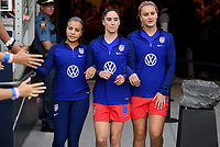 Saint Paul, MN - SEPTEMBER 03: Mallory Pugh #2, Morgan Brian #6, Lindsey Horan #9 of the United States during their 2019 Victory Tour match versus Portugal at Allianz Field, on September 03, 2019 in Saint Paul, Minnesota.