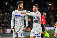 Leeds United's midfielder Jack Harrison (22) congratulates Leeds United's forward Tyler Roberts (11) during the Sky Bet Championship match between Hull City and Leeds United at the KC Stadium, Kingston upon Hull, England on 2 October 2018. Photo by Stephen Buckley/PRiME Media Images.