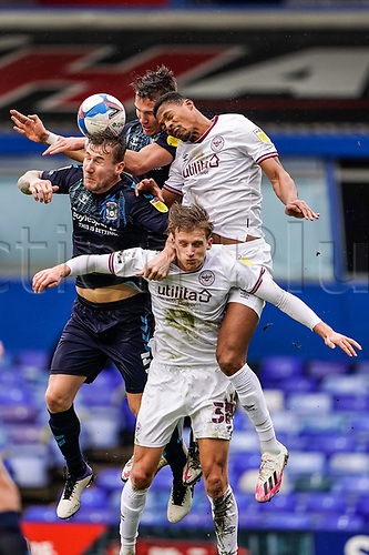 20th February 2021; St Andrews Stadium, Coventry, West Midlands, England; English Football League Championship Football, Coventry City v Brentford; Kyle McFadzean of Coventry City gets his head on the ball but cannot direct it towards the Brentford goal