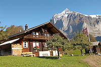 Alpine Traditional houses in front of Wetterhorn- Swiss Alps