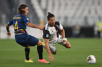 Jacopo Petriccione of Lecce and Cristiano Ronaldo of Juventus compete for the ball during the Serie A football match between Juventus FC and US Lecce at Juventus stadium in Turin  ( Italy ), June 26th, 2020. Play resumes behind closed doors following the outbreak of the coronavirus disease. Photo Andrea Staccioli / Insidefoto