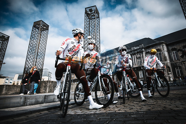 AG2R Citroen Team at the team presentations before the start of the 107th edition of Liege-Bastogne-Liege 2021, running 259.1km from Liege to Liege, Belgium. 25th April 2021.  <br /> Picture: A.S.O./Aurelien Vialatte | Cyclefile<br /> <br /> All photos usage must carry mandatory copyright credit (© Cyclefile | A.S.O./Aurelien Vialatte)