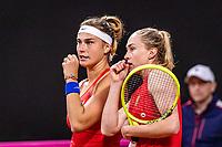 The Hague, The Netherlands, Februari 8, 2020,    Sportcampus, FedCup  Netherlands -  Balarus, Doubles:  Sabalenka/Sasnovich (BLR)<br /> Photo: Tennisimages/Henk Koster