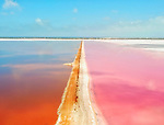 Bright pink lake looks like oil painting by Adam Cooper