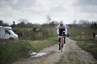Jasper Stuyven (BEL/Trek-Segafredo) over the cobbles<br /> <br /> recon of the 114th Paris - Roubaix