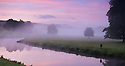 12/09/16<br /> <br /> Dawn breaks over the river Derwent as it passes through the Chatsworth Estate near Bakewell,  Derbyshire.<br /> <br /> All Rights Reserved, F Stop Press Ltd. +44 (0)1773 550665