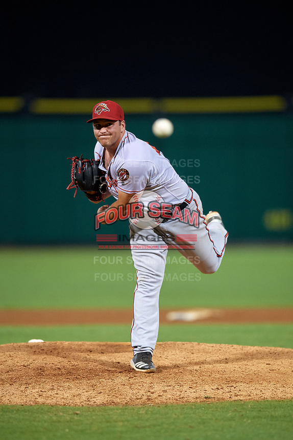 Florida Fire Frogs relief pitcher Thomas Burrows (45) delivers a pitch during a game against the Clearwater Threshers on June 1, 2018 at Spectrum Field in Clearwater, Florida.  Florida defeated Clearwater 12-10.  (Mike Janes/Four Seam Images)