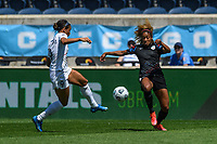 BRIDGEVIEW, IL - JUNE 5: Lynn Williams #9 of the North Carolina Courage and Casey Krueger #6 of the Chicago Red Stars battle for the ball during a game between North Carolina Courage and Chicago Red Stars at SeatGeek Stadium on June 5, 2021 in Bridgeview, Illinois.