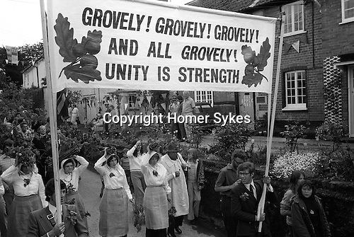Grovely Forest Rights Wishford Magna, Wiltshire England 1974<br /> <br /> Wishford Magna Oak Apple Club motto:'Grovely! Grovely! Grovely! and all Grovely! Unity is strength',  banner carried is carried in procession through the village.