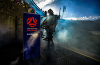 A smoke machine shrouds the entrance before the A-League football match between Wellington Phoenix and Central Coast Mariners at Westpac Stadium in Wellington, New Zealand on Saturday, 4 January 2020. Photo: Dave Lintott / lintottphoto.co.nz