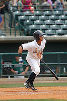 Charleston RiverDogs infielder Allen Valerio (20) at bat during a game against the Augusta GreenJackets at Joseph P.Riley Jr. Ballpark on April 15, 2015 in Charleston, South Carolina. Charleston defeated Augusta 8-0. (Robert Gurganus/Four Seam Images)