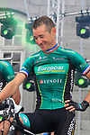 Thomas Voeckler (FRA) Team Europcar on stage at the Team Presentation Ceremony before the 2012 Tour de France in front of The Palais Provincial, Place Saint-Lambert, Liege, Belgium. 28th June 2012.<br /> (Photo by Eoin Clarke/NEWSFILE)