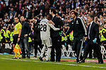 Real Madrid's Vinicius Jr. (L) and coach Santiago Solari (R) celebrate goal during La Liga match between Real Madrid and Real Valladolid at Santiago Bernabeu Stadium in Madrid, Spain. November 03, 2018. (ALTERPHOTOS/A. Perez Meca)