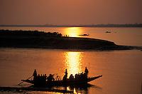 INDIA West Bengal, sunset at Sundarbans the delta of river Ganges / Indien, Westbengalen, Flussdelta des Ganges, Sunderbans