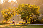 September 5, 2017; Joggers on the path around St. Mary's Lake (Photo by Matt Cashore/University of Notre Dame)